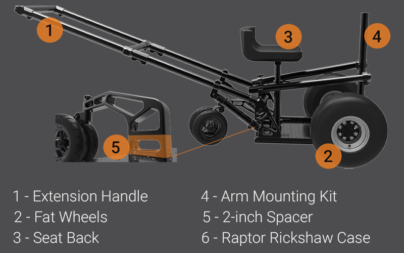 Raptor Rickshaw 3 with various accessories supported